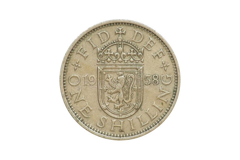 1958 stare monety jednego szylinga obrazy stock