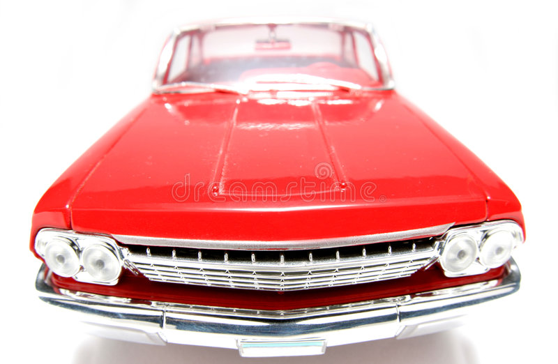 1962年belair汽车薛佛列汽车fisheye frontview金属缩放比例玩具 库存照片