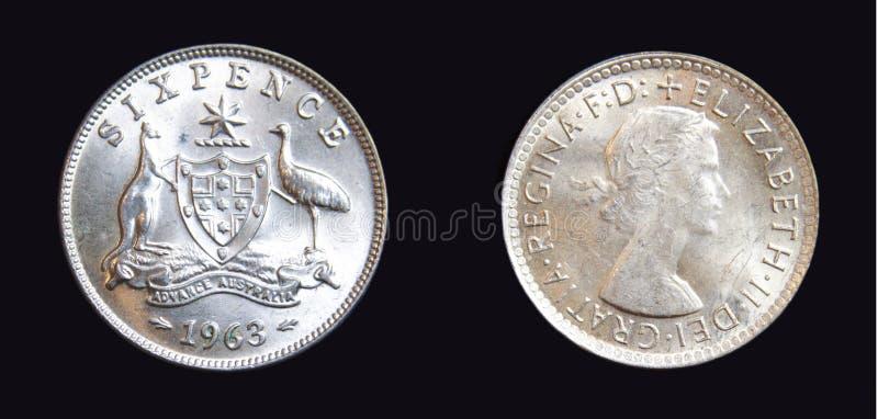 1963澳大利亚六便士银币 图库摄影