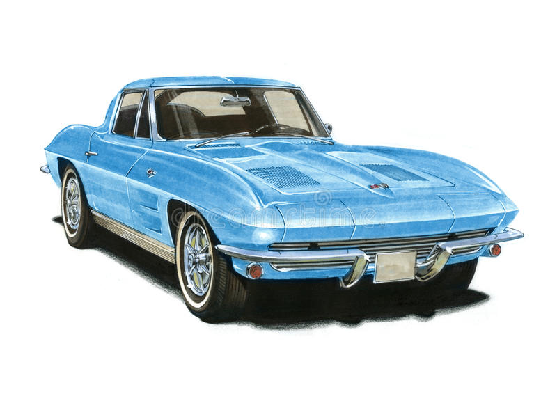 1963 Corvette Sting Ray. Illustration of a 1963 Chevrolet Corvette Sting Ray stock illustration