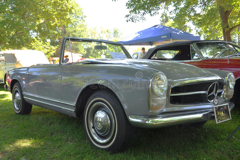 1964 Mercedes Benz 230 SL convertible. In antique car show, Potsdam, New York, USA royalty free stock photography