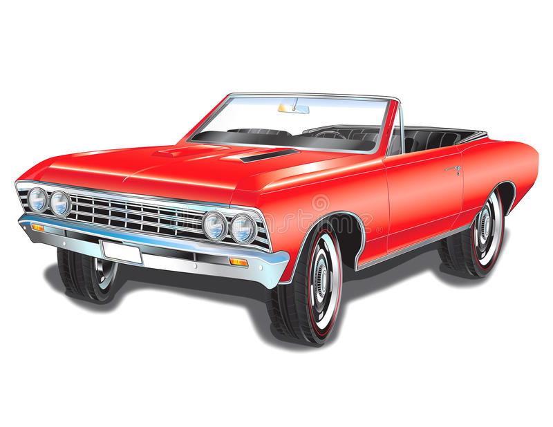 1967 Chevelle SS Drawing. This illustration could be used for all print media. Repair Garages, gas stations, old car events, and hot rod and antique shows stock illustration