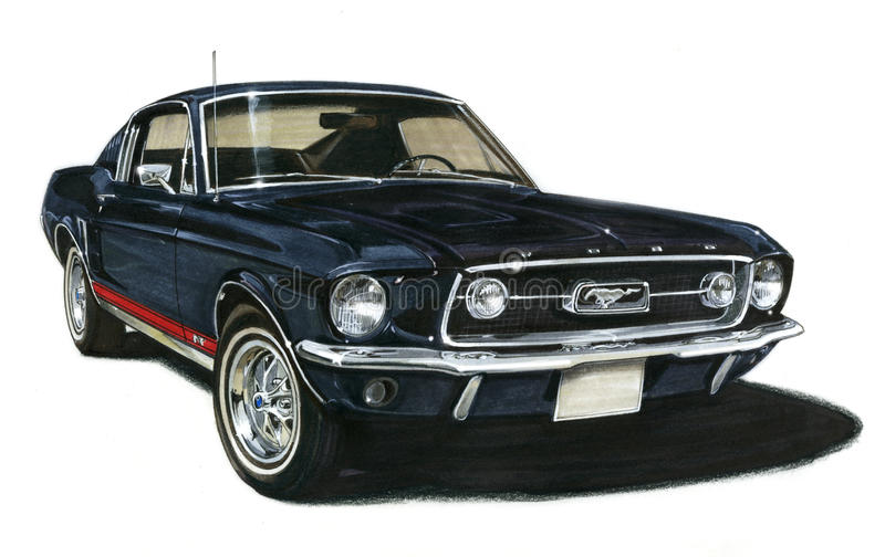 1967 Ford Mustang GT Fastback royalty free illustration