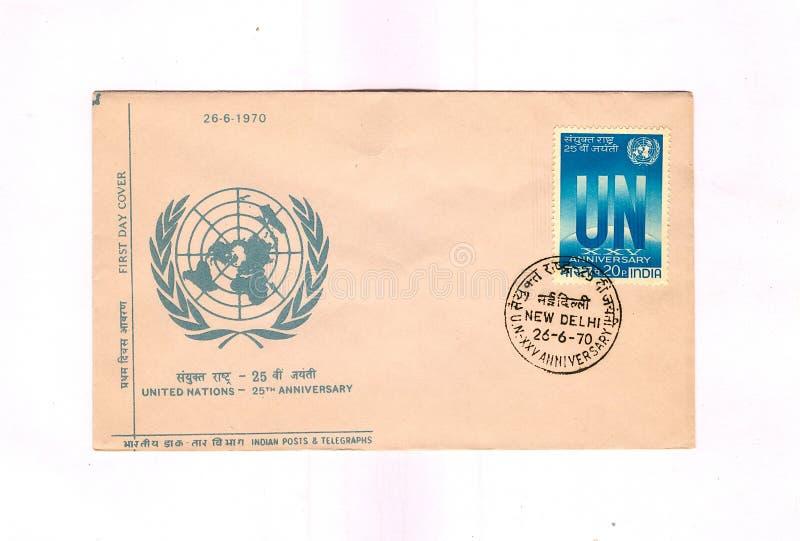 1970 чествуя ООН дня крышки первую индийскую стоковая фотография rf