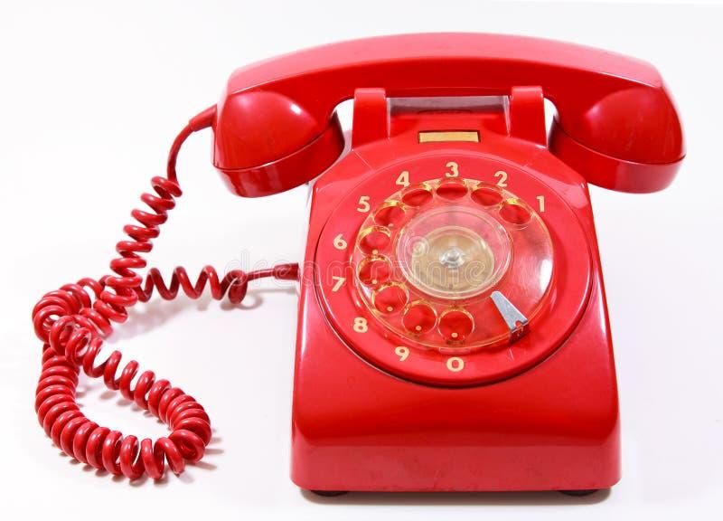 1970 1980 telefon för stil för classicvisartavlahus röda retro arkivbilder