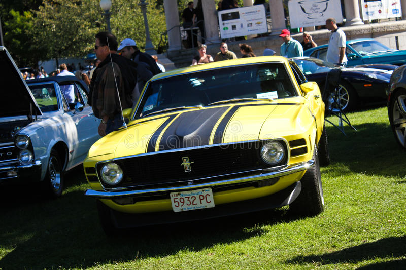 1970 Ford Mustang Boss 302. Beautiful vintage 1970 Ford Mustang Boss 302 at the Classic Car Show at The Boston Common royalty free stock images