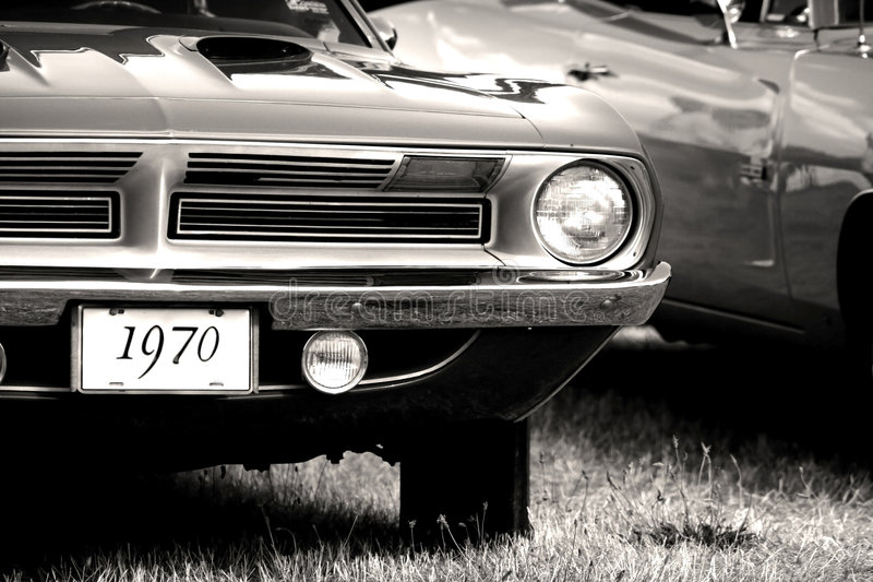 1970 Vintage Car. 1970 Classic car in black and white color tone stock photo