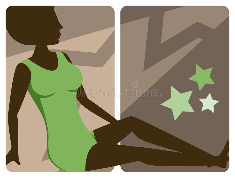 1970s Disco Lady Banner stock illustration