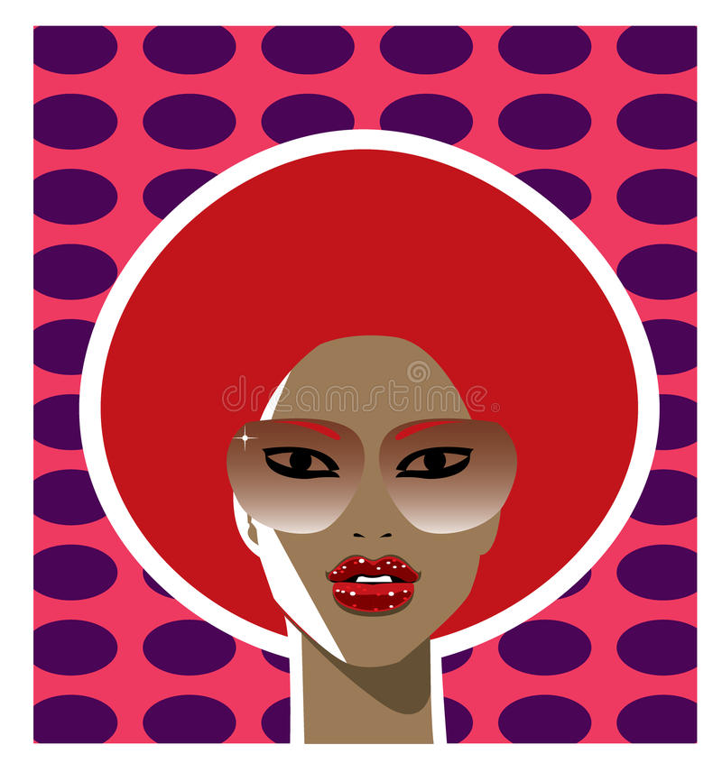 1970s style woman with a red afro hairstyle