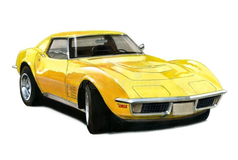 1971年T头等Chevrolet Corvette的黄貂鱼 皇族释放例证