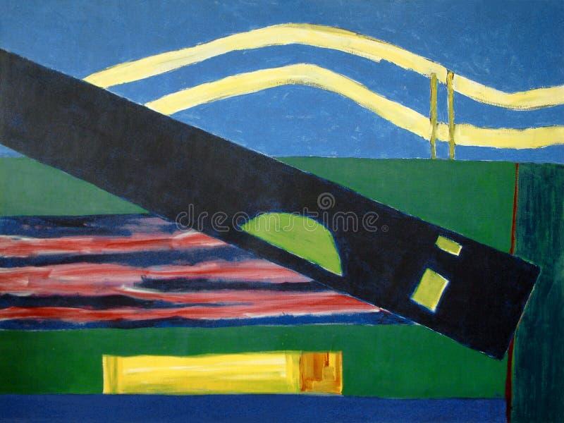 1989 - ' Landschap + Diagonal' , het acryl grote schilderen op canvas, Nederlandse abstracte kunst/kleurrijke het schil royalty-vrije stock foto