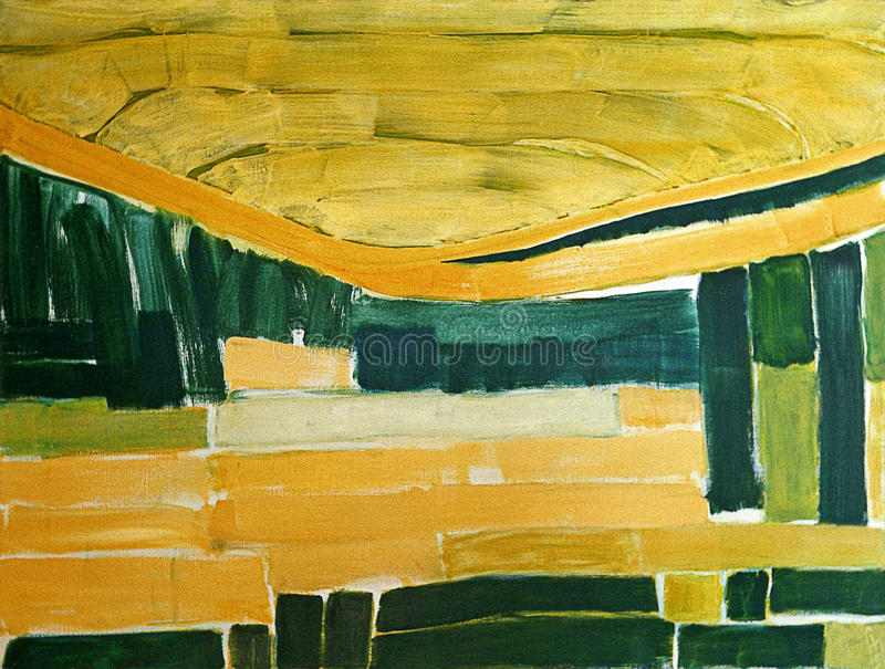 1990 - 'abstract Landscape With Sunlight', Large Abstract Painting; Artist Fons Heijnsbroek, The Netherlands - A High Re Free Public Domain Cc0 Image