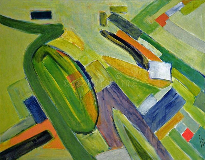 1990 - ' Cais de IJmuiden' , grande pintura de paisagem abstrata, arte colorida abstrata holandesa na lona um a de alta fotografia de stock