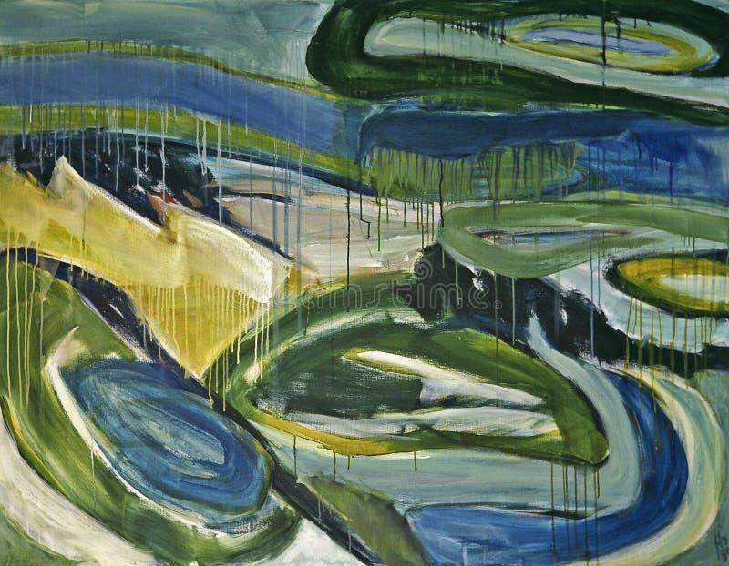 1990 - ' Duna-paisagem nos Ovals, grande pintura acr fotografia de stock royalty free