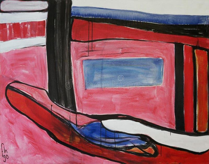 1990 - ' Paisagem & Window' , grande paisagem-pintura abstrata na lona; Um descarregamento gratuito de alta resolução d foto de stock