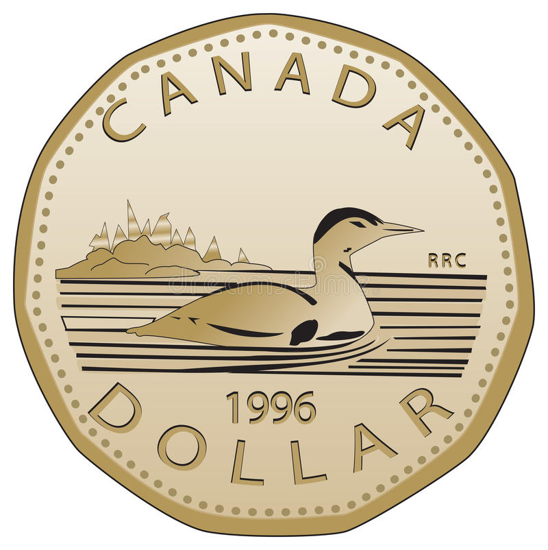 1996加拿大硬币美元 库存图片
