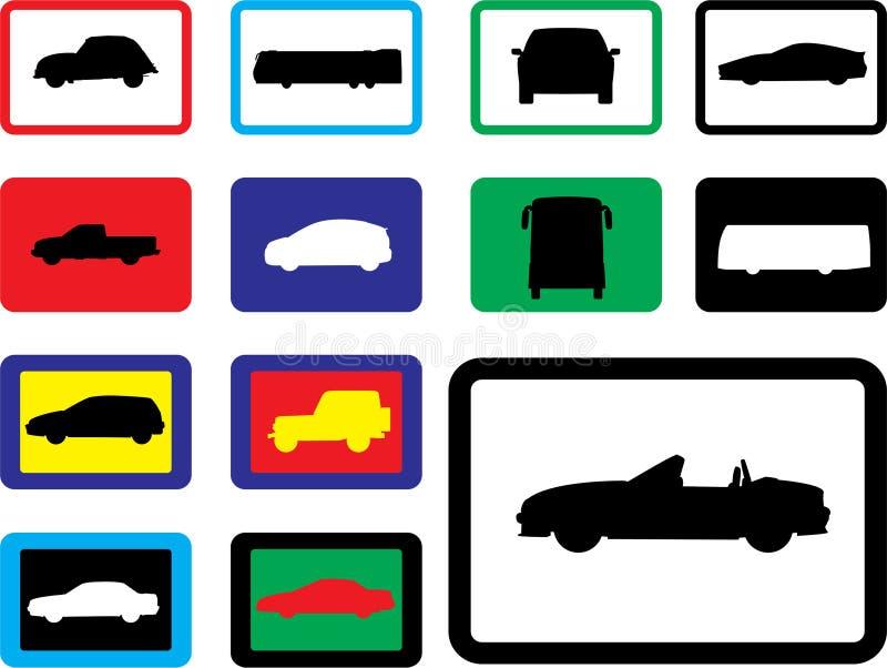 19b被设置的汽车图标 库存例证