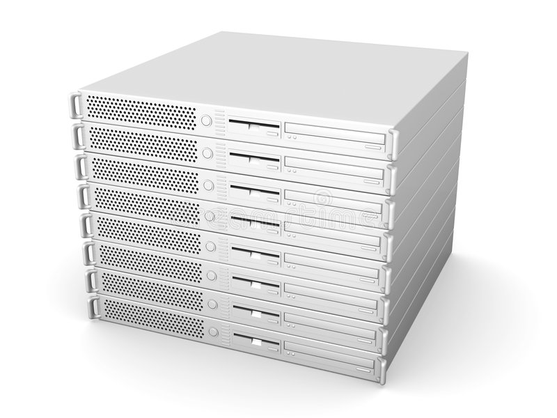 19inch Server Stack. 3D rendered Illustration. Isolated on white