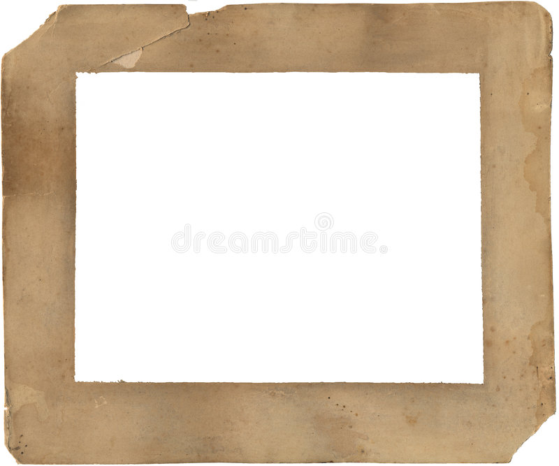 19o Frame de papel do século - deteriorado e manchado