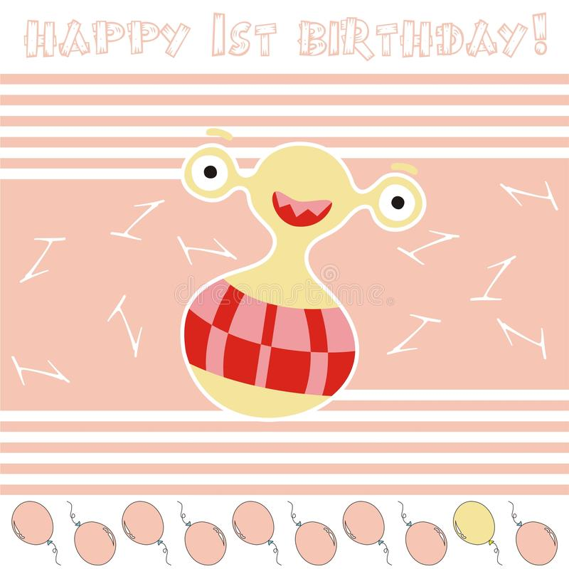 1st anniversary card. With funny alien vector illustration