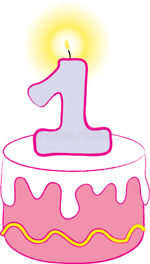 1st Birthday Pink Cake. This festive image can be used to celebrate a child's 1st Birthday royalty free illustration