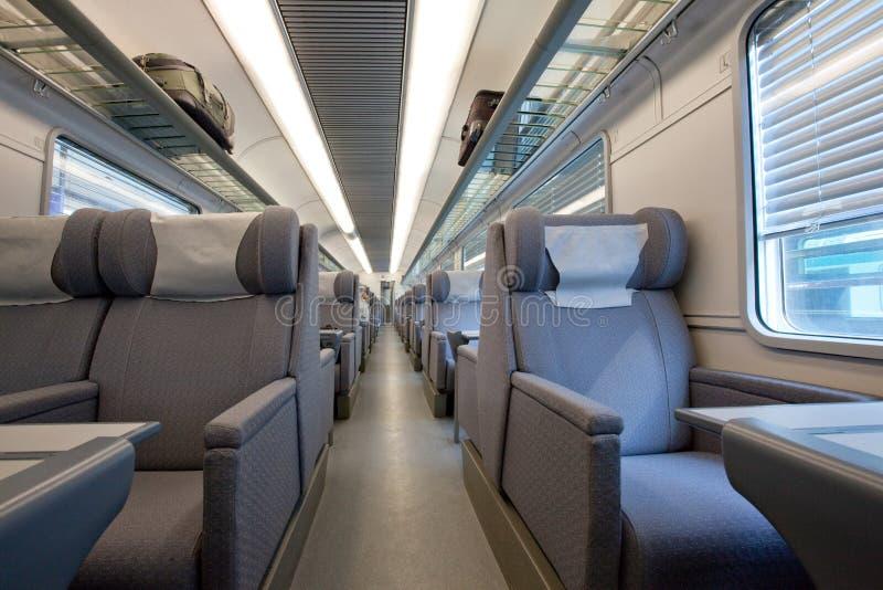 1st class modern train car Interior royalty free stock photography