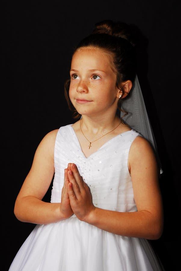 1st Communion Portrait. Young girls 1st Communion Portrait stock image
