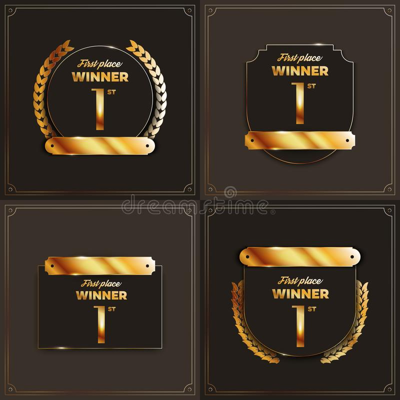 Free 1st Place Logo`s With Laurels And Ribbons. Stock Photo - 112340120