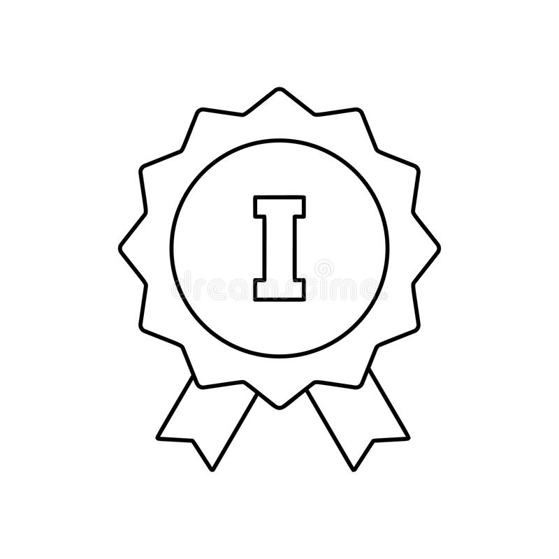 Free 1st Place Ribbon Line Icon Royalty Free Stock Photography - 79849707