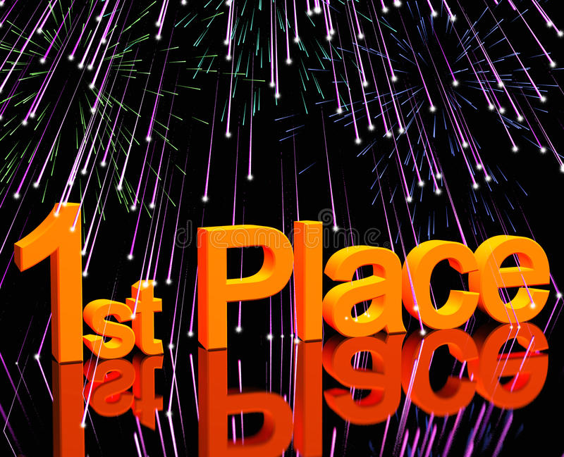 1st Place Word And Fireworks Stock Images