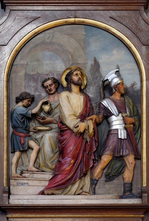 Free 1st Stations Of The Cross, Jesus Is Condemned To Death Stock Image - 132001981