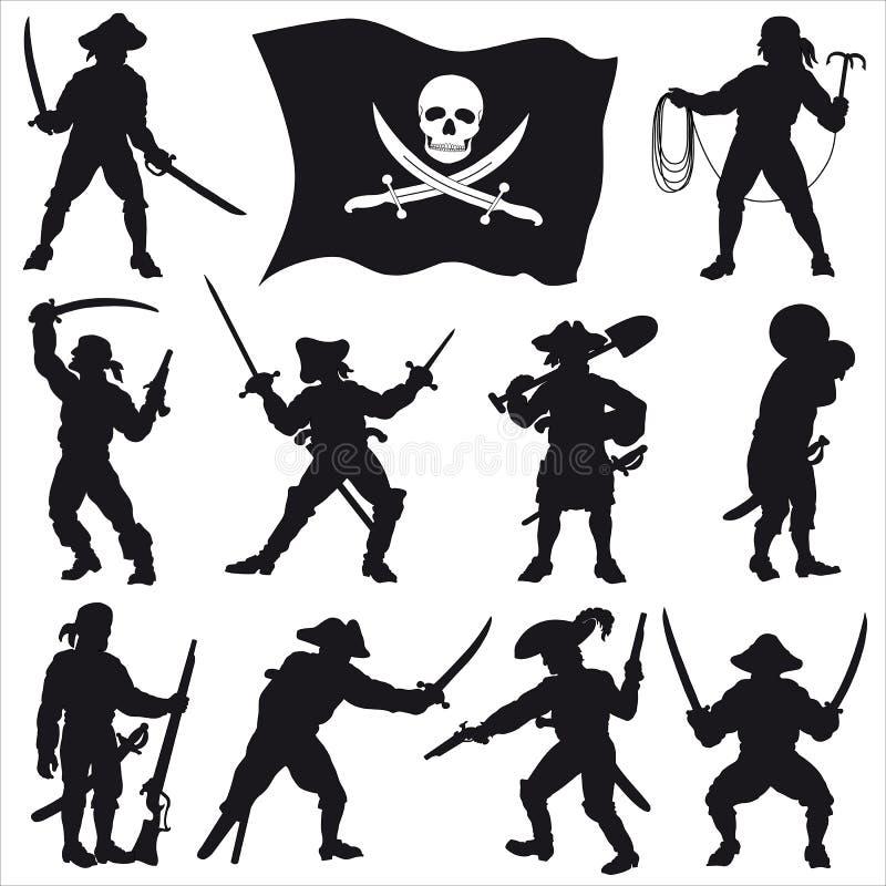 2个乘员组海盗被设置的剪影 皇族释放例证