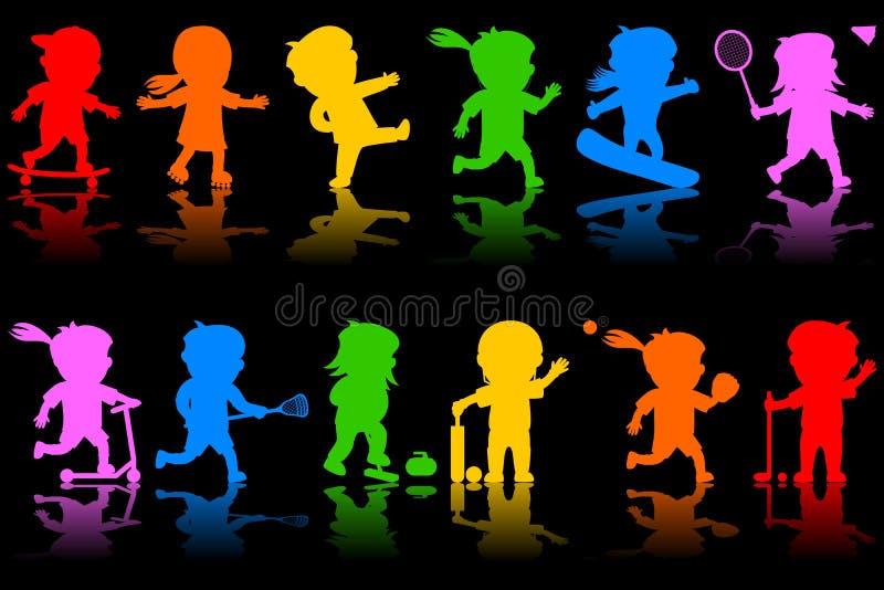 2个五颜六色的孩子剪影 库存图片