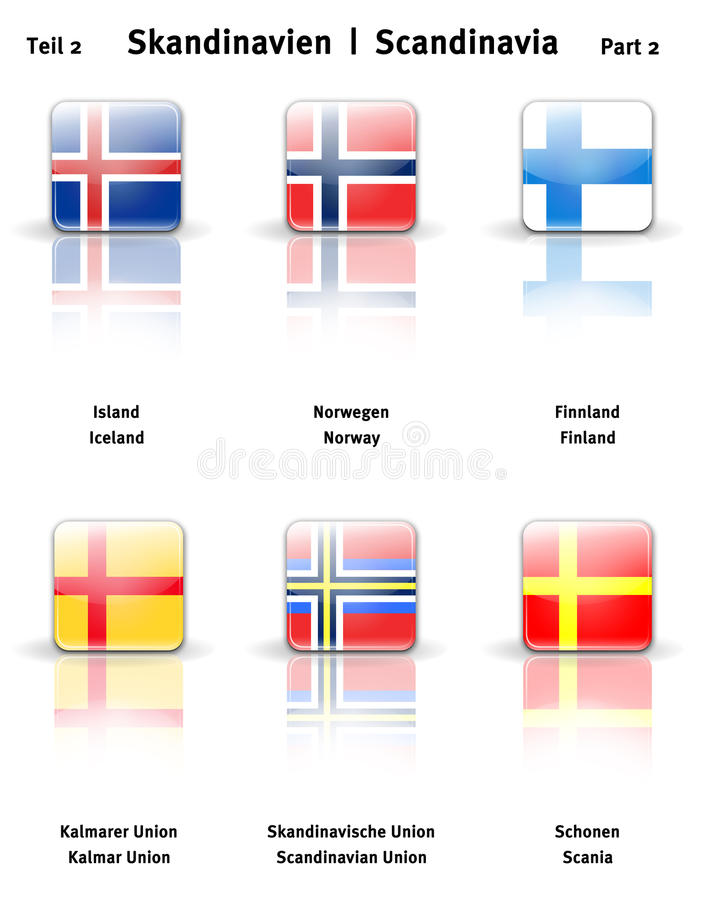 2个光滑的图标分开斯堪的那维亚 图库摄影