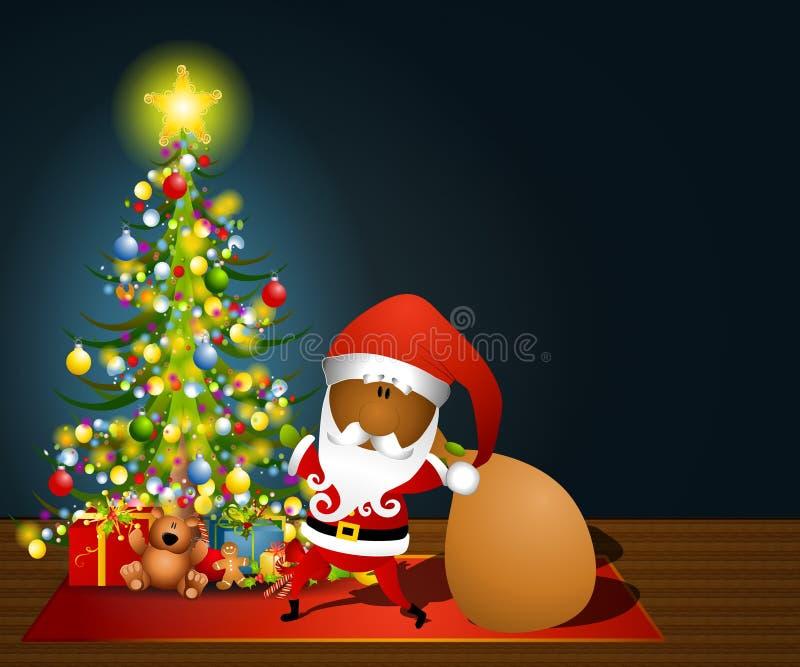 2个克劳斯大袋圣诞老人玩具 向量例证