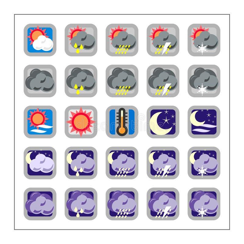 2个图标集合版本天气 库存照片