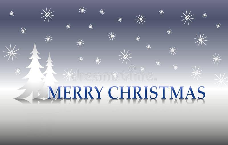 2个圣诞节快活的银树 库存例证