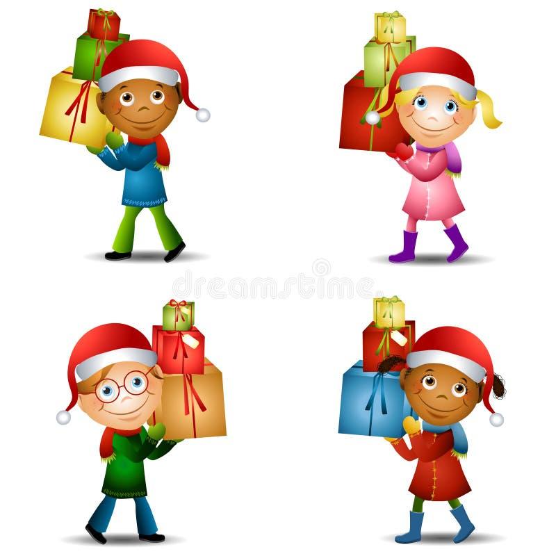 2个圣诞节礼品孩子 向量例证
