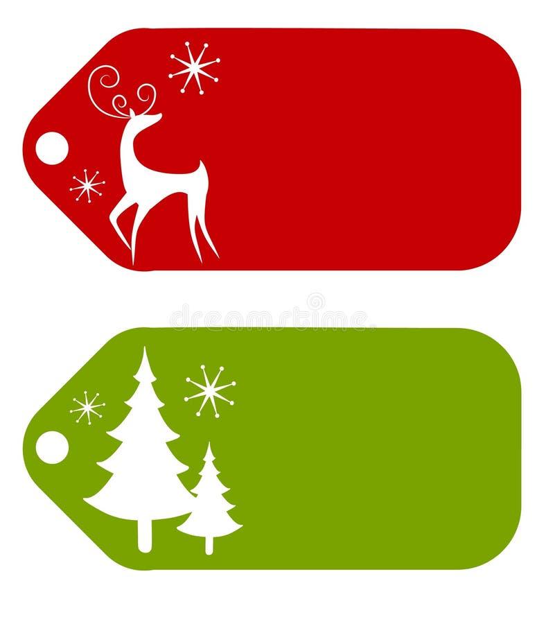 2个圣诞节礼品标签 皇族释放例证