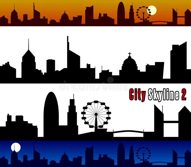 2个城市地平线 库存例证