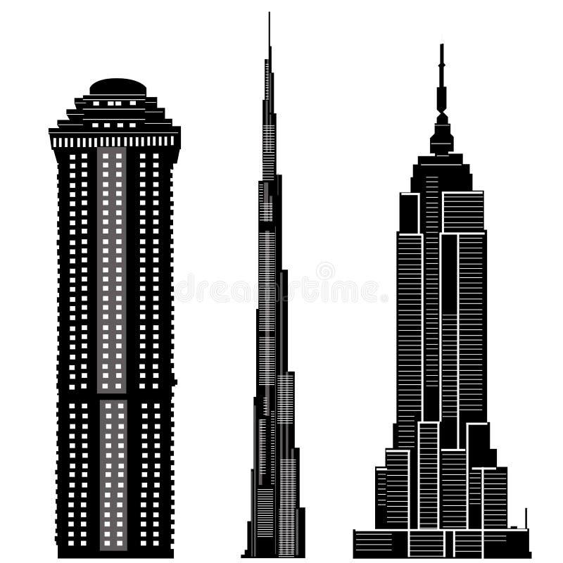 2个大厦摩天大楼向量 库存例证
