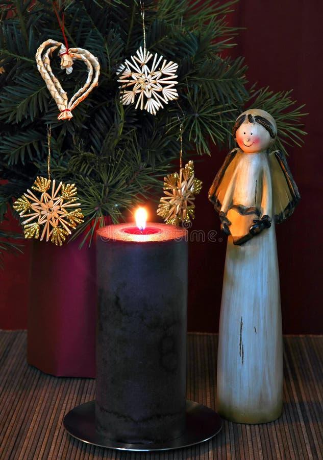 2个天使蜡烛 库存图片