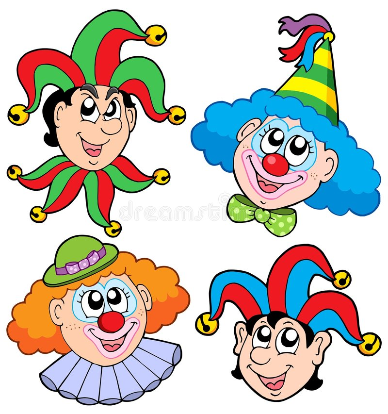 2个小丑收集题头 皇族释放例证