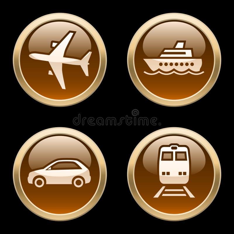 2个按钮图标运输 皇族释放例证