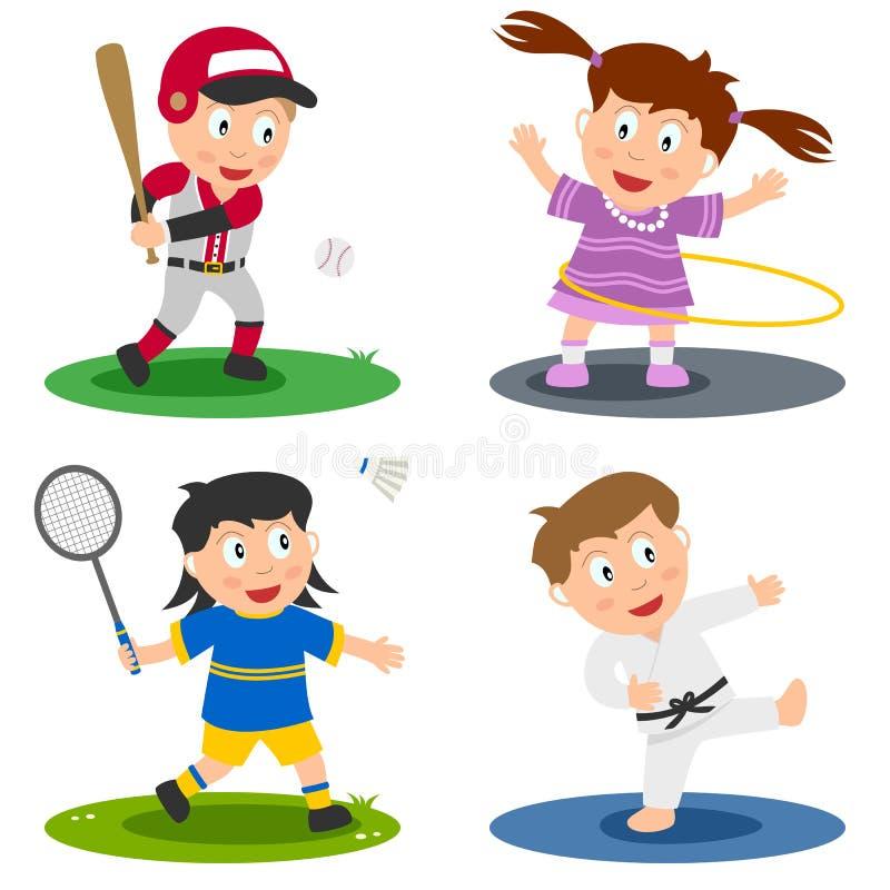 2个收集孩子体育运动 向量例证
