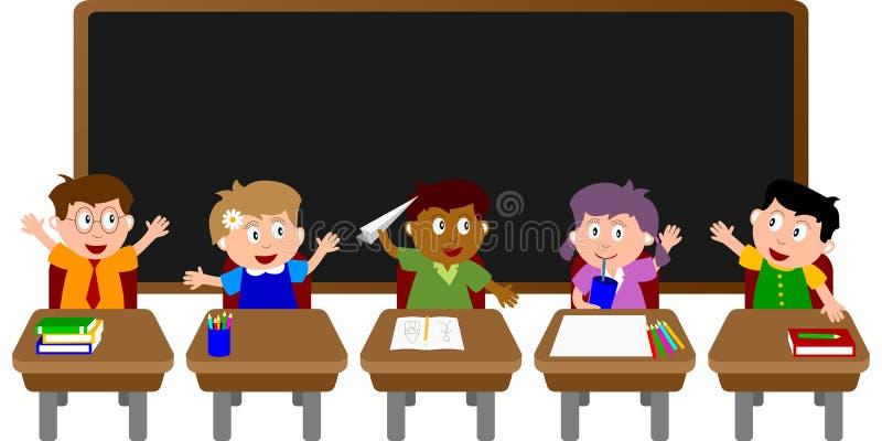 2个教室孩子学校 库存例证