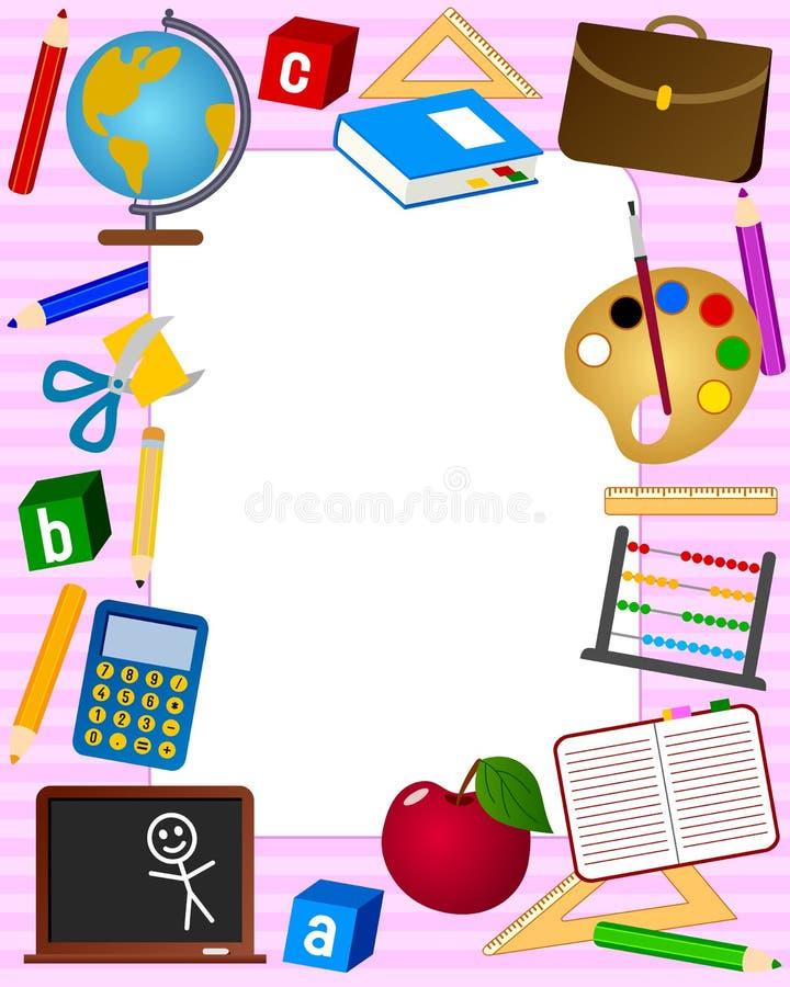 2个框架照片学校 向量例证
