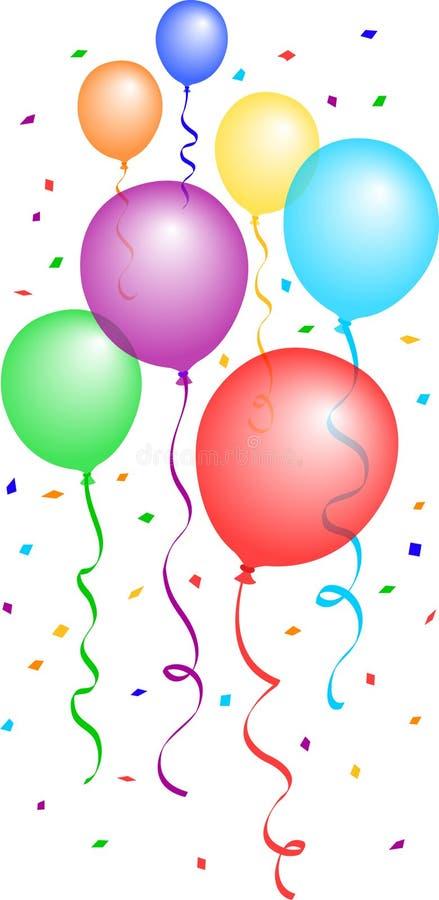 2个气球五彩纸屑eps 向量例证