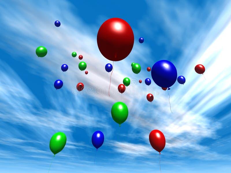 2个气球白天天空 皇族释放例证