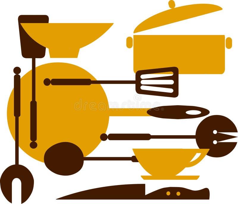 2个烹调油煎的厨房工具 向量例证